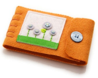 Kawaii Needle Keeper, Small Wool and Eco Friendly Felt Pin Case, Orange Wool with Embroidered Felt Flowers, Flower Garden Needle Minder