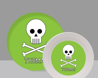 Green Skull Melamine Bowl or Plate Custom Personalized with Childs Name