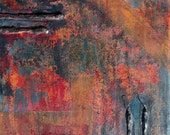ORIGINAL Abstract Painting - 14x14 inches. STUNNING Acrylic, bitumen and wire on canvas - 'Autumn'