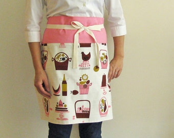 Apron retro kitchen in pink and brown half apron cafe apron reversible mid-century mod cooking