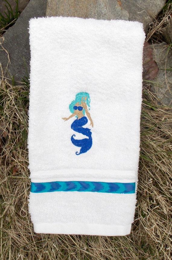 Mermaid hand towel mermaid bath decor elegant mermaid blue