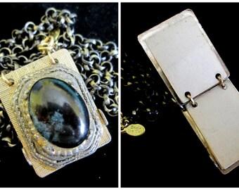 Vintage Folk Art Notebook Necklace