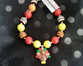 Thanksgiving, Turkey Bubblegum Necklace