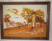 Vintage Embroidered Picture Autumn Colors Charming Landscape with House Trees Birds Cat & Dog Large 20 x 26 Inches Framed