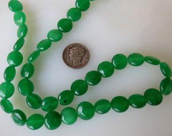 Green Jade Coin Shaped Beads 10mm Half Strand