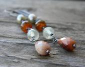 SALE - lovely long carnelian dangle earrings - oxidized, rustic silver