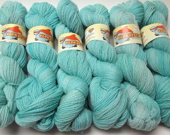 Falkland Fingering Solids - Hand dyed gradient wool yarn, 210 yards, 50g/1.8oz, AQUAMARINE, painted semisolid shawl sock handdyed ombre