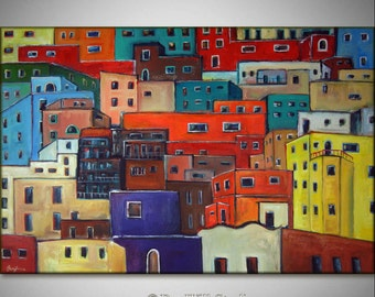 "60"" HUGE Abstract Painting COLORFUL Art Original Modern Art HOUSES Mexican Art on Canvas 60x40 - Fine Art by BenWill"