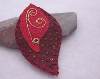 Red Gold Beaded Fabric Leaf Brooch