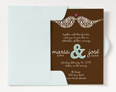Love Birds Wedding Invitation  Template  Wedding Invitation Printable  Wedding Invitation Suite  Brown and Blue  No 3