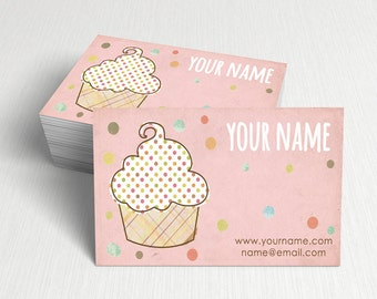 Business Cards  Custom Business Cards  Personalized Business Cards  Business Card Template  Modern Business Cards  Cupcake Business Card A5