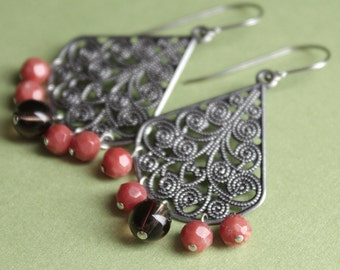 Coral & Smoky Quartz Earrings - Filigree - Surgical Steel Earwires