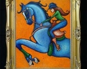 Barrel Racer Woman Horse Original Painting, Rodeo Cowgirl, Western Farmhouse Decor, Equestrian Gift, Horse Racing, Colorful Wall Art, Shano
