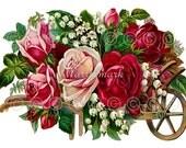 Rose Fabric Block, Floral Quilt Panel, Cotton Applique, Flower Fabric Print, Fabric Applique, Crazy Quilt Supply, Quilt block