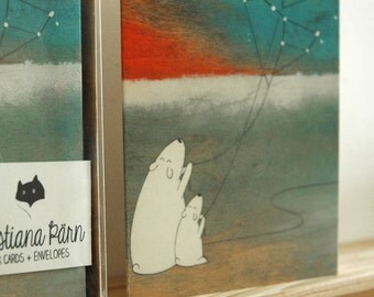 The Great Bear and the Little Bear - Set of Six Blank Note Cards