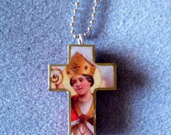 St. Gennaro Catholic Cross Crucifix Necklace Patron of Blood Banks Naples G1