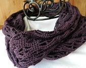 Infinity Scarf, Purple Cotton Cowl, Cotton Fashion Scarf, Crocheted Loop Circle Scarf,  Spring or Summer, Gifts for Her, ISC2