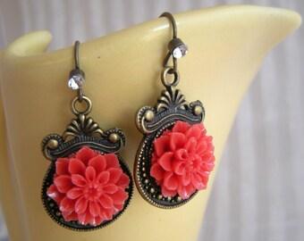 Red Chrysanthemum Vintage Inspired Earrings