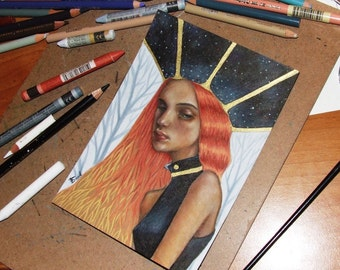Gaia - original mixed media painting illustration art by Tanya Bond - pop surrealism portrait earth spirit goddess esoteric space universe