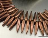 20 Czech Thorn Beads 16mm Dark Bronze - Czech Glass Beads (G - 507)