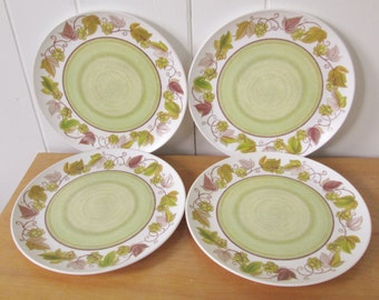 4 vintage melmac green grape plates