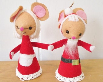 vintage Santa and Mrs Claus mice ornaments