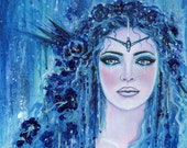 Original sea goddess art portrait 11x14 acrylic on canvas  by Renee L. Lavoie