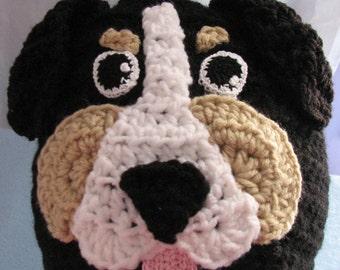 Crochet Pattern - Bernese Mountain Dog Hat - Dog Lover Gift - Dad Hat - Woman's Hat - Animal Hat Pattern - PDF - Digital Download