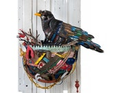 Crow in Nest Bird Wall Sculpture