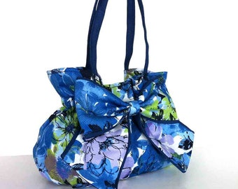 Bow purse, Fabric bag, Summer purse, Floral hand bag,  Cotton bow bag, Spring fashion, Girls purse, Gift for her Bag with bow Blue purse