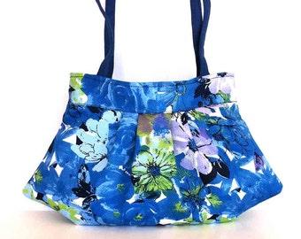 Summer purse , floral handbag , blue shoulder bag , office fashion bag , every day bag , shoulder purse , handmade vegan  cotton handbag