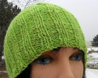Green Knit Hat for Men or Women, Lightweight Alpaca and Wool Hat, Chartreuse Handknit Alpaca Beanie