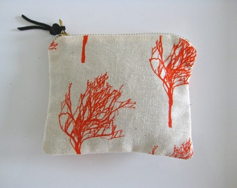 SALE - Coin Purse/Wallet - Hand Screen Printed -  Trees Pattern - L A S T  O N E