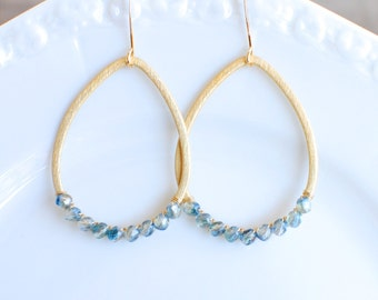 Gold Hoop with Wire Wrapped Aqua Beads. Edisto Collection. Bridesmaids Earrings.