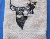 Buck And Doe Deer Black Outline On White Bath Hand Towel