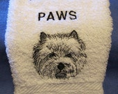 Cairn Terrier Wipe My Paws WHite Bath Hand Towel Machine Embroidery