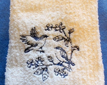 Blue Bird Kitchen White  Towel Machine Embroidery Great for Bird Lover