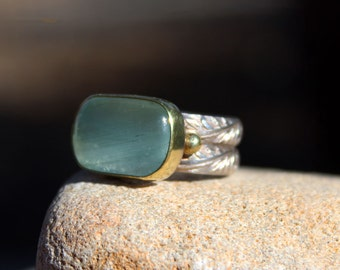 SALE  /Large Brazilian Aqua Marine Ring /Handmade /Gold/Sterling Silver /Fine Jewelry /Gift for Her