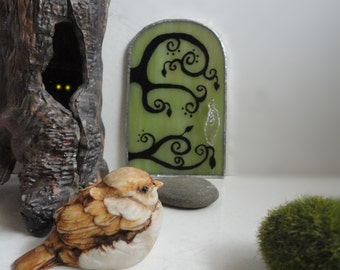 SALE, Fairy Door, Green Stained Glass, Garden Sculpture, Hand Painted, Fae Door, Fairy House, Portal,  Whimsical Home Decor, Faerie