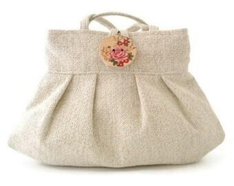small tote bag- beige purse- womens handbag  -shoulder bag - retro purse- fabric bag- retro bag- beige tote bag- pleated bag