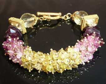 Midsummer's Night bracelet - yellow and shades of pink tourmaline, lemon quartz rounds and vermeil accents