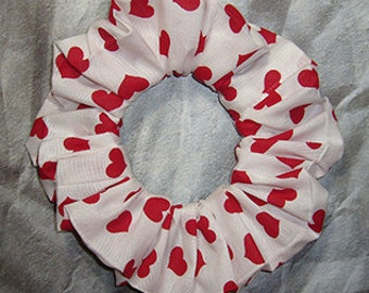 Heart Themed Hair Scrunchie, Hair Tie, Fabric Ponytail Holder, Classic Hearts on White