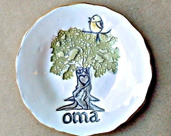 OMA  Family Tree with 1 Birdie Ceramic  Trinket Bowl OFF WHITE  Mothers day