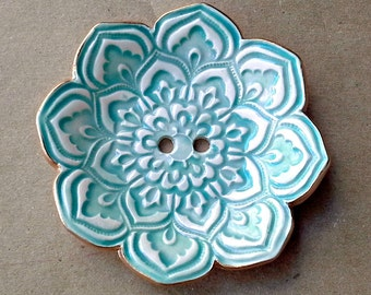 Aqua and White Lotus Ceramic Ring  Bearer Bowl