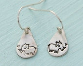 ELEPHANT dangle EARINGS - BOYGIRLPARTY sterling silver elephant hooks handmade by Chocolate and Steel
