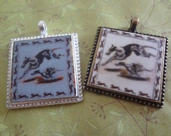 Whippet Greyhound Lets Race Pendant Catch the Bunny Italian Greyhound