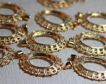 Gold Filigree Pendant Cabochon Pendant Setting Glue In Setting Cab Setting Jewelry Making Lot