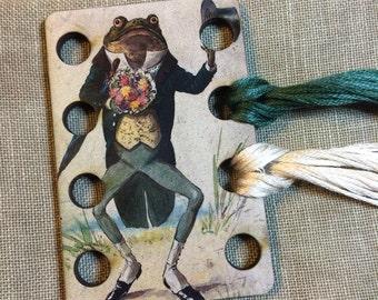 Gentleman Frog floss organizer wooden embroidery floss sorter thread keep