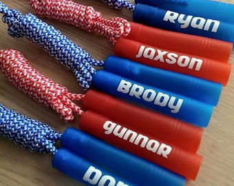 Personalized Jump Rope - Birthday Party Favor - Pink Purple Blue Red