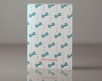 Letterpress Happy as Clams Card